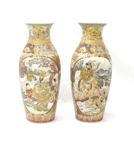 A pair of Satsuma vases Meiji