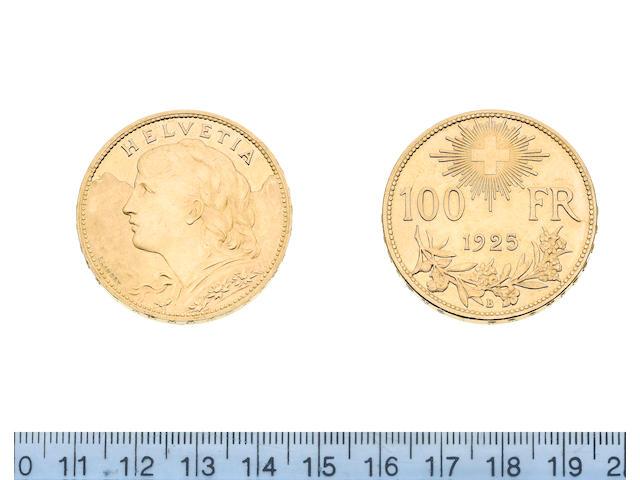 Switzerland, 100 Francs, 1925B, young bust left,