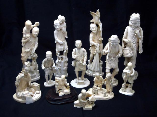Twelve various ivory, marine ivory and bone figures