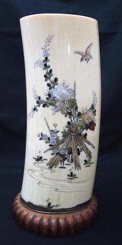 A shibayama ivory tusk Meiji