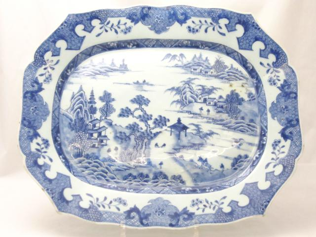 A large blue and white meat plate 18th century