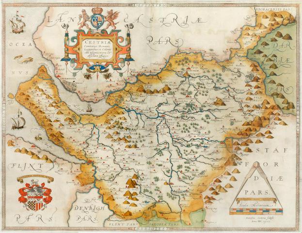 CHESHIRE SAXTON (CHRISTOPHER) Cestriae comitatus (romanis legionibus et colonys olim insignis) vera et absoluta effigies, 1577 [but 1579, or later]