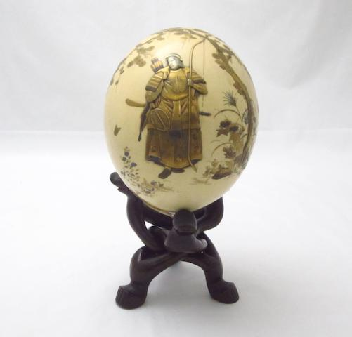 A lacquer and shibayama ostrich egg Meiji
