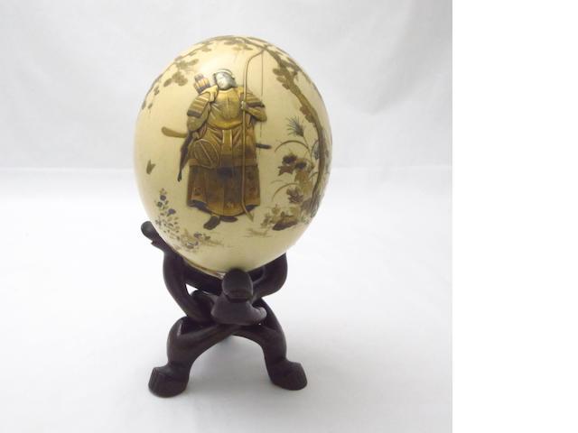 A lacquer and shibayama ostrich egg Meiji