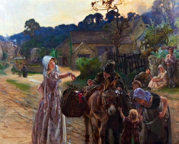 John Young Hunter (American, 1874-1955) A peddler selling ribbons from a donkey in a village