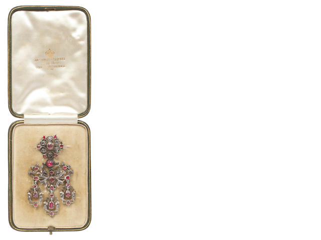 A late 18th century diamond, ruby and gem set girandole brooch/pendant