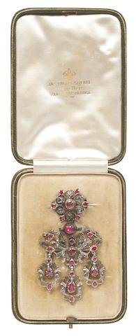 A late 18th century diamond, ruby and gem set girandole brooch/pendant