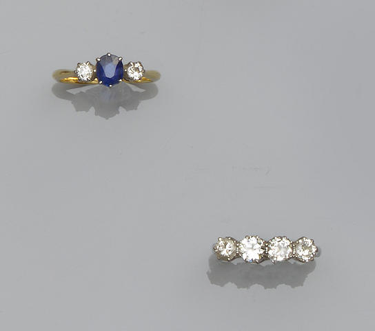 A diamond four stone ring and a sapphire and diamond three stone ring (2)