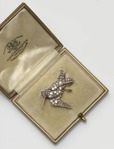 A late Victorian diamond bird brooch