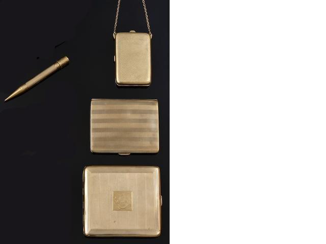 Two 9ct gold cigarette cases, a compact and a propelling pencil (4)