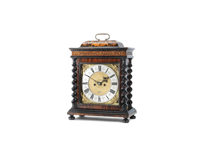 A 17th century and later olive wood table clock with pull quarter repeat John Ebsworth, London