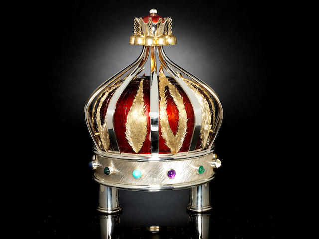 GERALD BENNEY: A unique and exceptional silver, silver-gilt and red enamelled Torah Crown maker's mark for Adrian Gerald Sallis Benney, London 1996