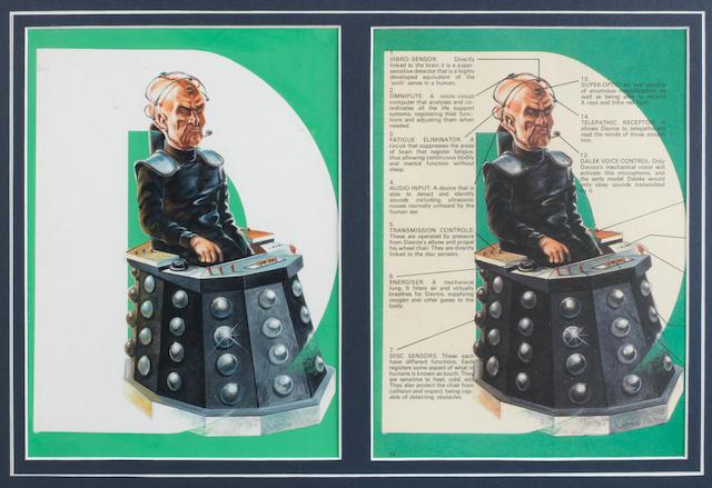 Doctor Who: A piece of original artwork of Davros for 'The Dalek Annual 1978',