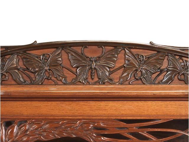 Emile Gallé (1846-1904) 'Vitrine aux Blés' a Walnut and Marquetry Display Cabinet, circa 1905