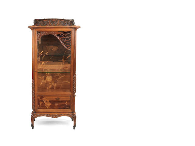Emile Gallé (1846-1904) 'Vitrine aux Blés' a Walnut and Marquetry Display Cabinet, circa 1905
