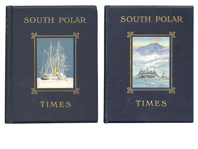 SOUTH POLAR TIMES SHACKLETON (ERNEST HENRY), LOUIS C. BERNACCHI and APSLEY CHERRY-GARRARD, editors. South Polar Times, vol. 2 and 3 (of 3), NUMBER 41 OF 250 COPIES, Smith, Elder & Co., 1907-1914
