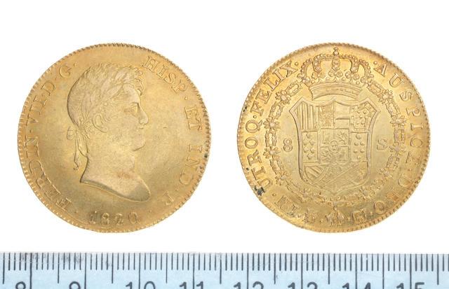 Spain Eight Escudos, 1820, Madrid mint mark, GJ,