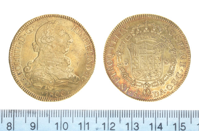 Chile, Eight Escudos, 1800, Santiago mint mark, S - DA,