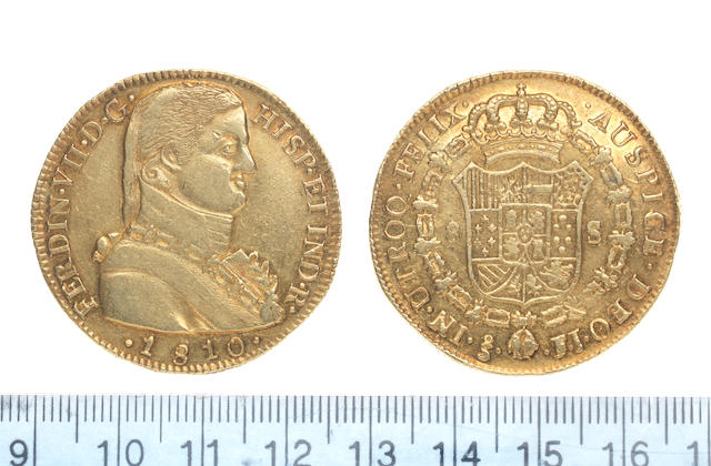 Chile, Eight Escudos, 1810, Santiago mint mark, S - FJ,