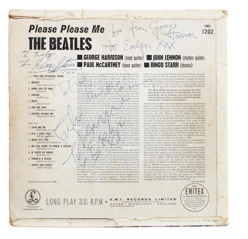 The Beatles: An autographed copy of the album 'Please Please Me', a black and gold label pressing, 1963,