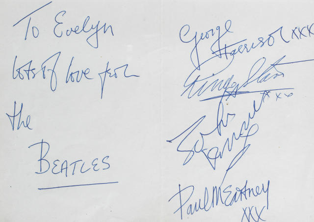 The Beatles: An autographed notelet, 1963,