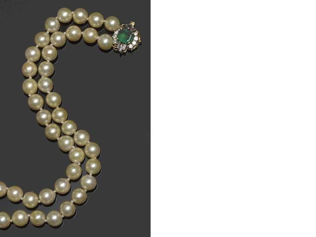 A cultured pearl, emerald and diamond necklace