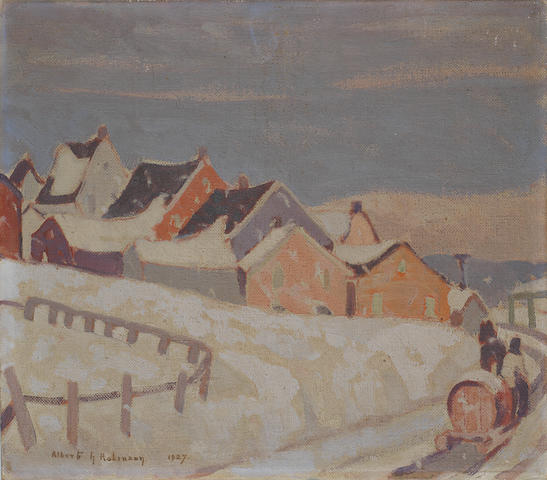 Albert Henry Robinson (Canadian, 1881-1956) The water-barrell man, village of St. Fidèle, Quebec