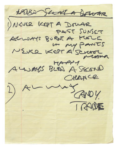 The Rolling Stones: Keith Richards' handwritten lyrics for 'Happy',