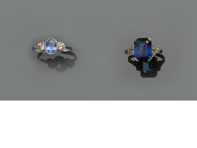 A sapphire and diamond three stone ring and a synthetic sapphire and diamond ring (2)