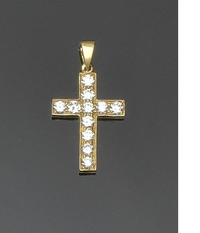 A diamond set cross pendant