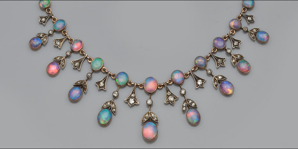 An opal and diamond fringe necklace