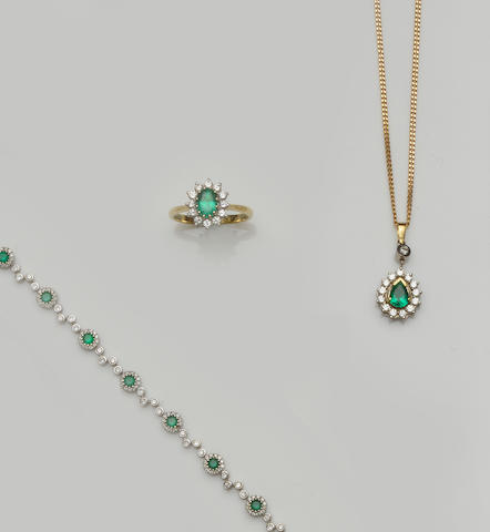 A collection of emerald and diamond jewellery (6)