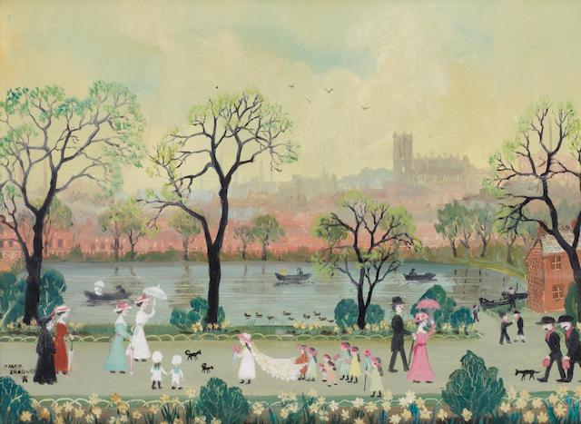Helen Bradley (British, 1900-1979) The Four Seasons 22.9 x 29.9 cm (9 x 11 3/4 in.) (each)