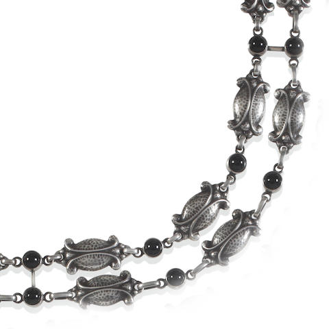 Georg Jensen: A black agate 'Moonlight Blossom' necklace