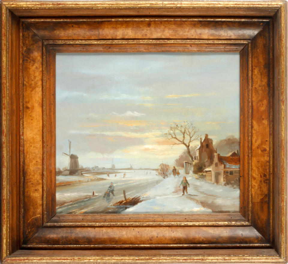 Follower of Anthonie Jacobus  van Wyngaerdt (Dutch, 1808-1887) Landscape with Cattle oil on panel, 17.5cm x 29.5cm; to be sold together with Dutch School (19th century), a pair of skating scenes, oil on panel, 17.5 x 21cm; Edward Stamp (born 1939), a pair of Buckinghamshire landscapes, oil on board, 11 x 18.5cm; Follower of Adolphus Knell, a pair of marine scenes, oil on board, 15 x 11cm (7)