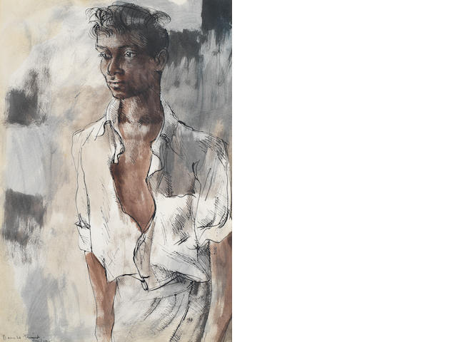 Donald Friend (Australian, 1915-1989) Portrait of a young man, Sri Lanka