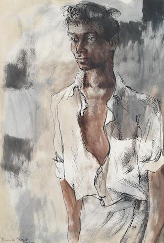 Donald Friend (Australian, 1915-1989) Portrait of a young man, Sri Lanka