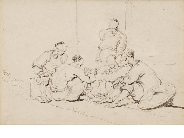 George Chinnery RHA (British, 1774-1852) Chinese coolies playing cards; A fishmonger. (2)