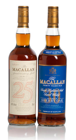 The Macallan Blue Label-30 year old (1)  The Macallan Anniversary-25 year old (1)