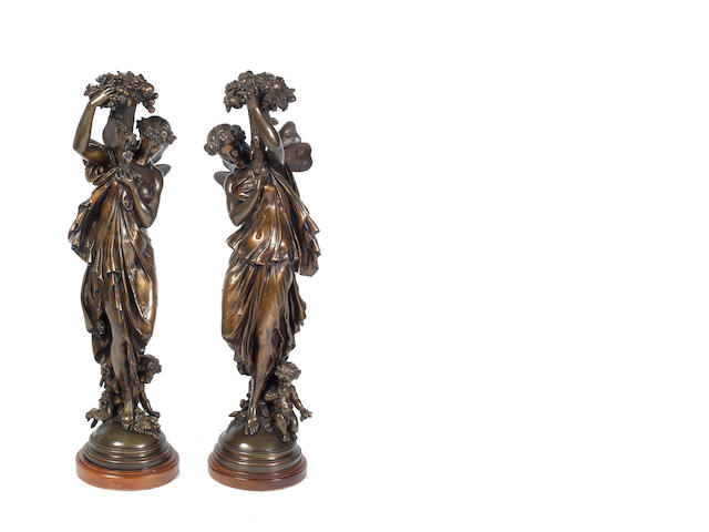 Auguste Louis Mathurin Moreau (1834-1917, French) A pair of bronzes emblematic of the seasons, circa 1900