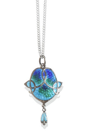 Attributed to James Fenton: An Art Nouveau enamel pendant, and a collection of jewellery