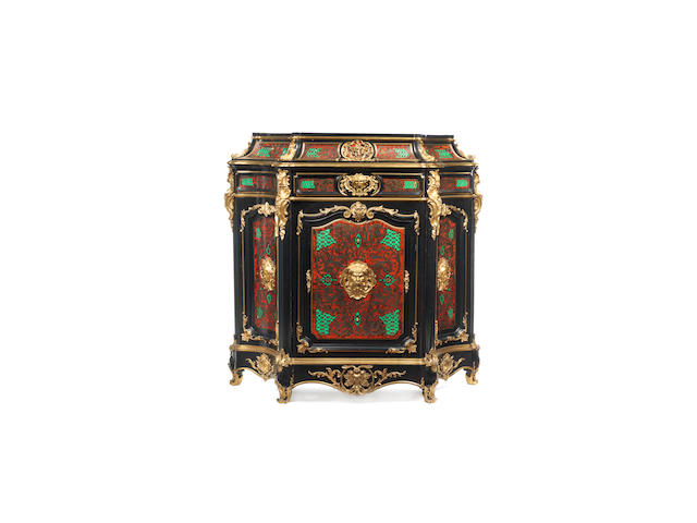 A French third quarter 19th century ormolu-mounted, red and green-stained tortoiseshell, cut-brass 'Boulle' marquetry and ebonised meuble d'appui in the manner of Mathieu Befort or Befort Jeune, Paris