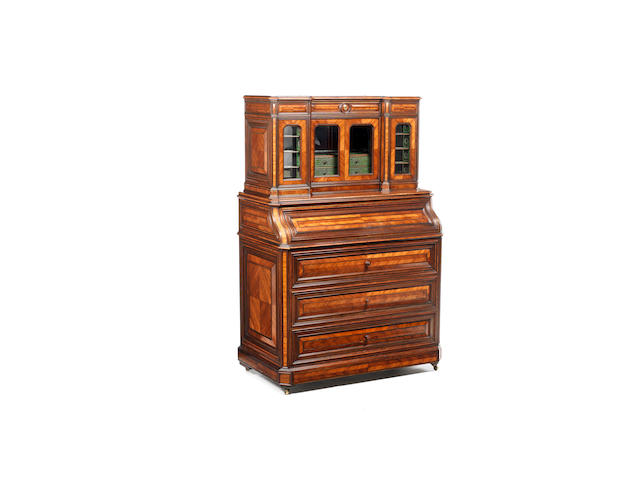 An Exhibition quality French mid-19th century quarter-veneered tulipwood, rosewood, green boulle, pewter and brass inlaid mechanical secrétaire, circa 1850, presented at the Great Exhibition of 1851 by Daubet & Dumarest, Rue d'Algerie 2, Lyon