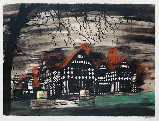 John Piper CH (British, 1903-1992) Wightwick Manor Screenprint in colours, 1977, on wove, signed and numbered 48/75 in pencil, printed at Kelpra Studio, published by Marlborough Fine Art, with margins, 522 x 702mm (20 9/16 x 27 5/8in)(I)