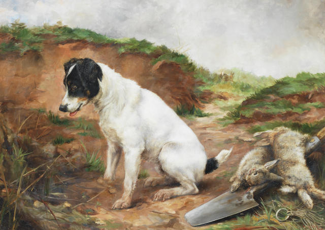 Lucy Ann Leavers (British, fl. 1887-1899) A Fox Terrier by a burrow 22 x 30 1/4in. (56 x 76.5cm.)