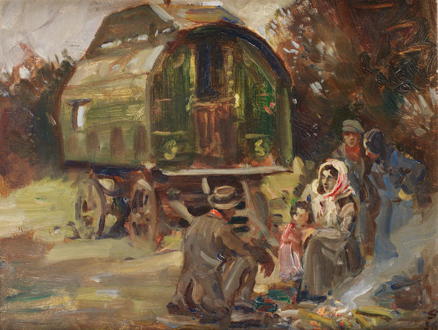 Edward Seago R.W.S. (British, 1910-1974) Gypsy Encampment 27.3 x 34.9 cm. (10 3/4 x 13 3/4 in.)