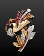 A ruby and diamond clip brooch,