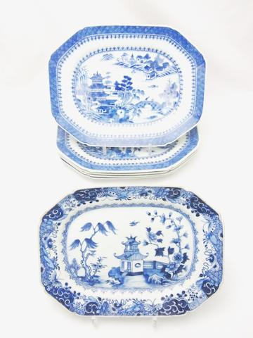 A set of five blue and white octagonal meat plates 19th century