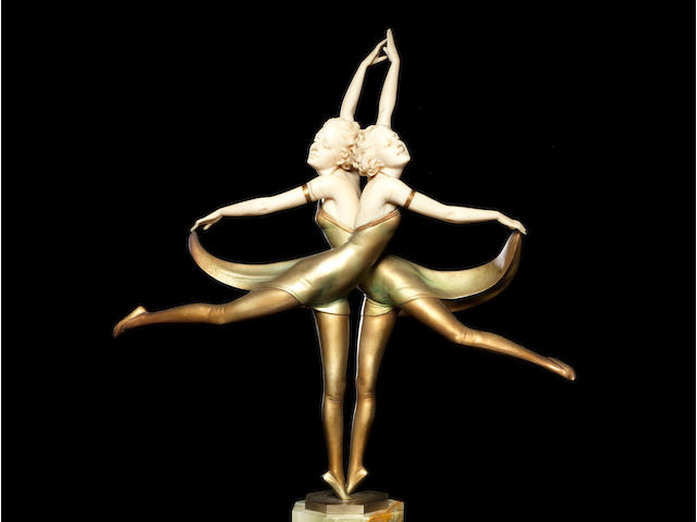Prof Otto Poertzel (1876-1963) 'The Butterfly Dancers' a Cold-Painted Bronze and Carved Ivory Study, circa 1925