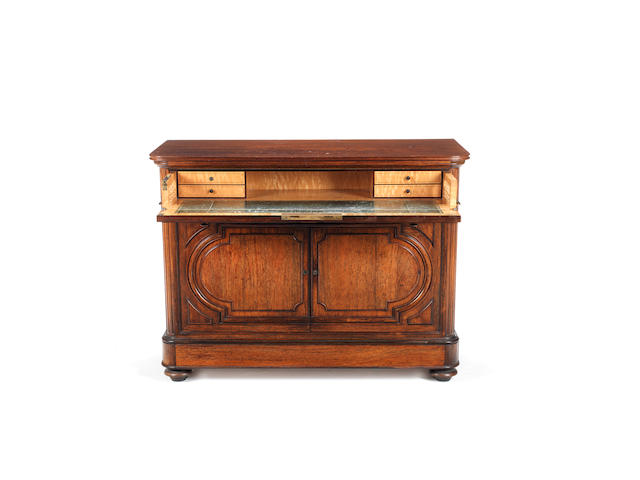 A French mid-19th century rosewood and mahogany secrétaire chest  by Maison Lemarchand & Lemoine, Paris